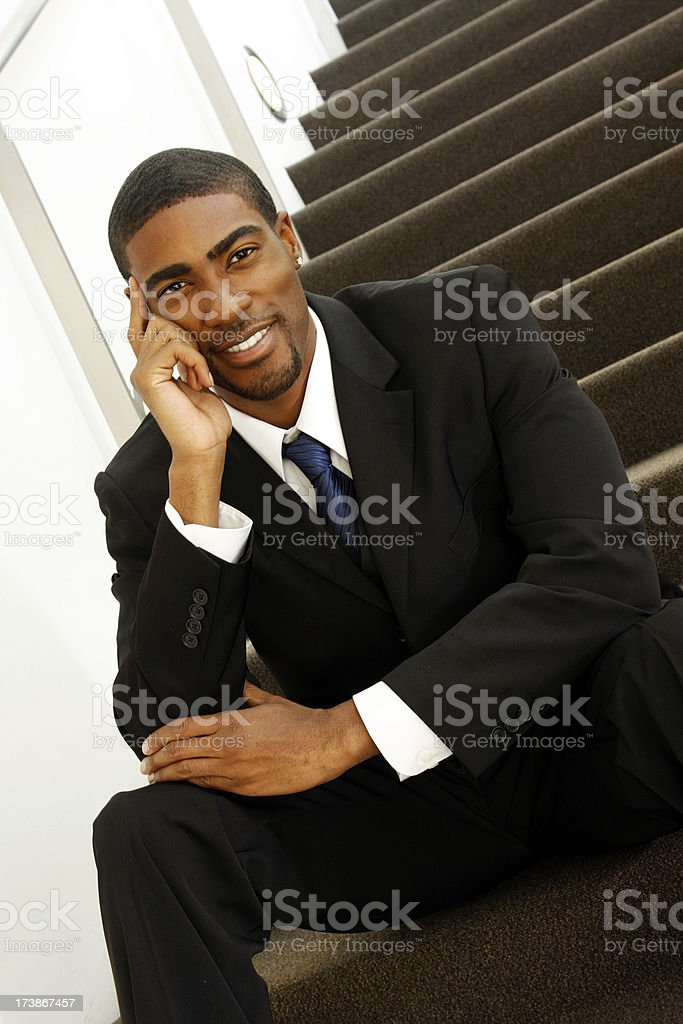 Black Man Stairs royalty-free stock photo
