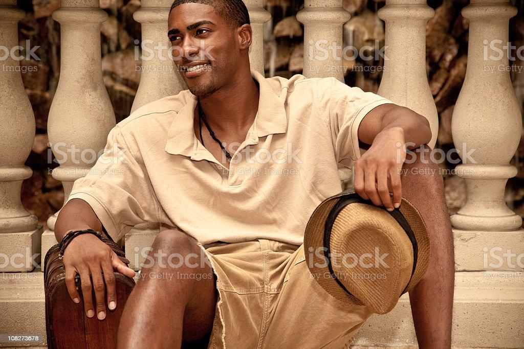Black Man Vintage Traveler stock photo
