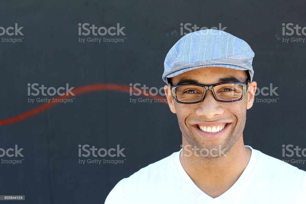 Black man wearing vintage glasses and hat stock photo