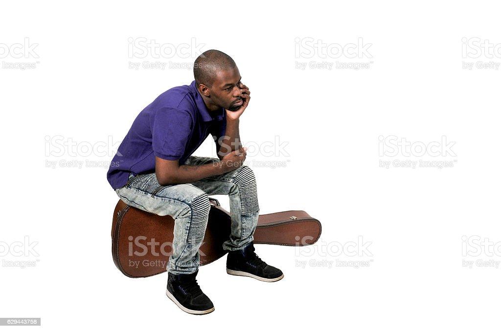 Black man with Guitar stock photo
