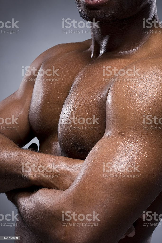 Black man with strong and sexy body royalty-free stock photo