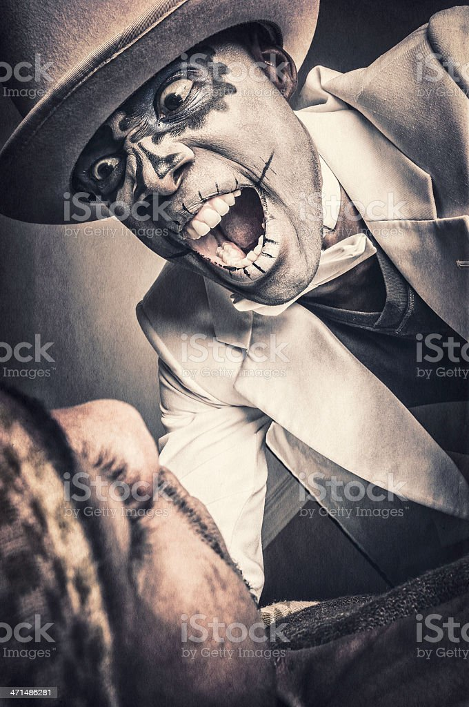 Black man with Sugar Skull face is attacking (VIII) royalty-free stock photo