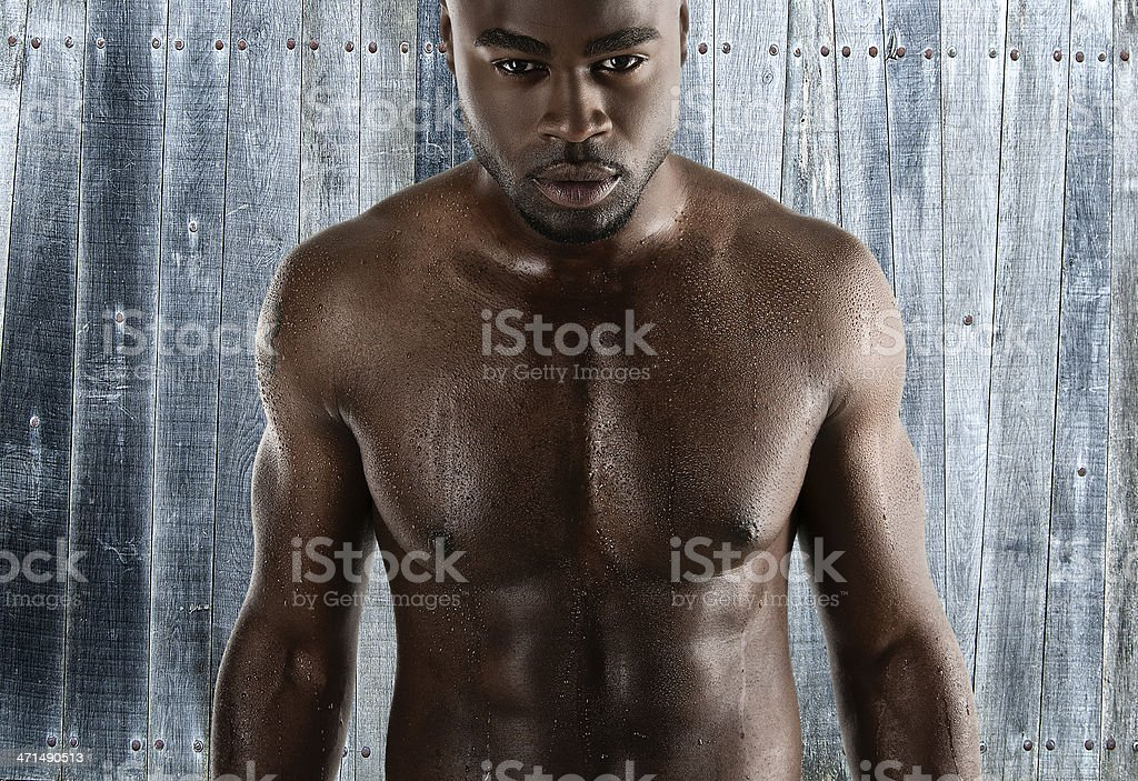 black man with sweat drops royalty-free stock photo
