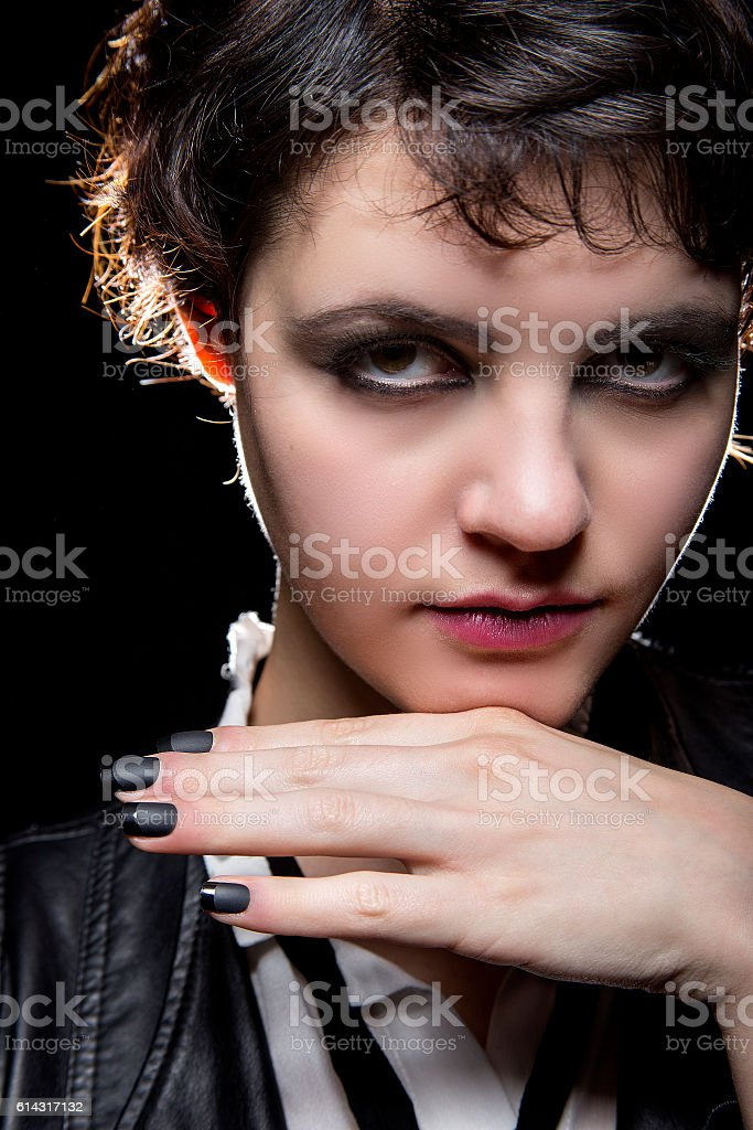 Black Manicure or Press On Nail Art stock photo