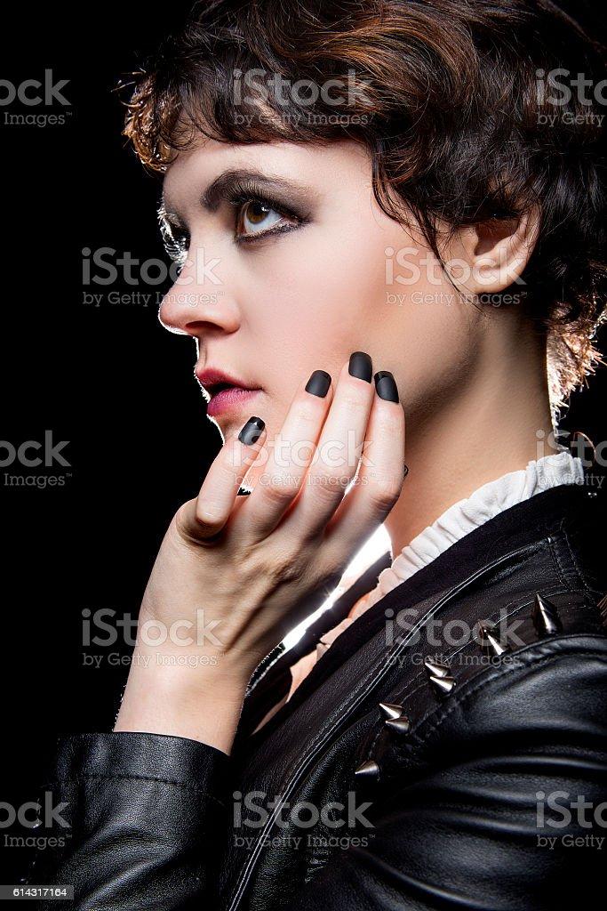 Black Manicure or Press On Nail Art stock photo