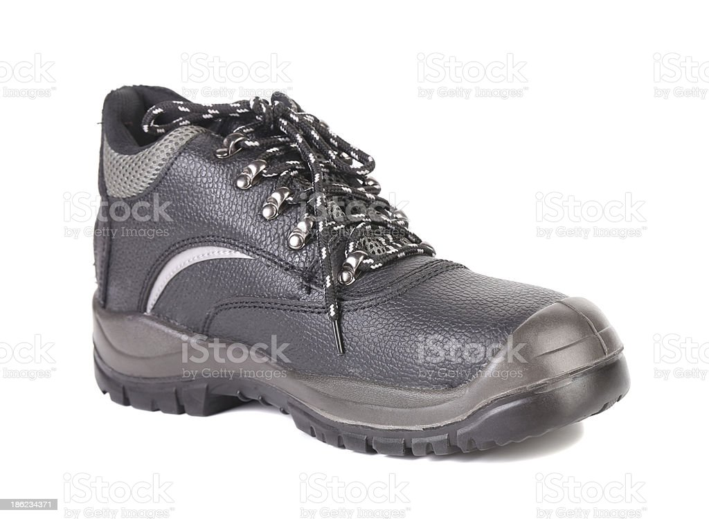Black man's boot with gray bar. royalty-free stock photo