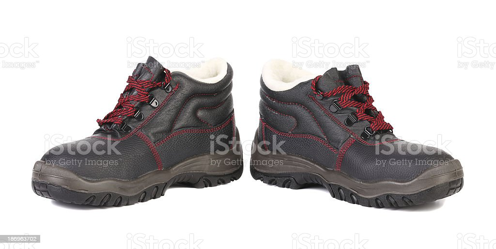 Black man's boots with red lace. royalty-free stock photo