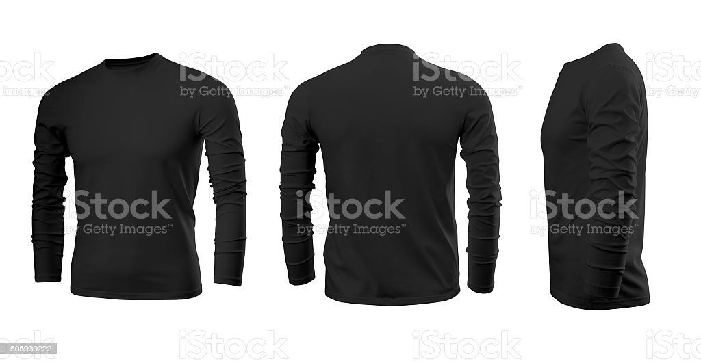 Black man's T-shirt with long sleeves stock photo