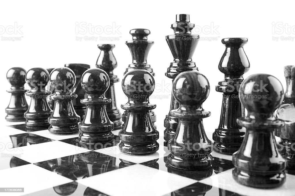 black marble chess pieces royalty-free stock photo