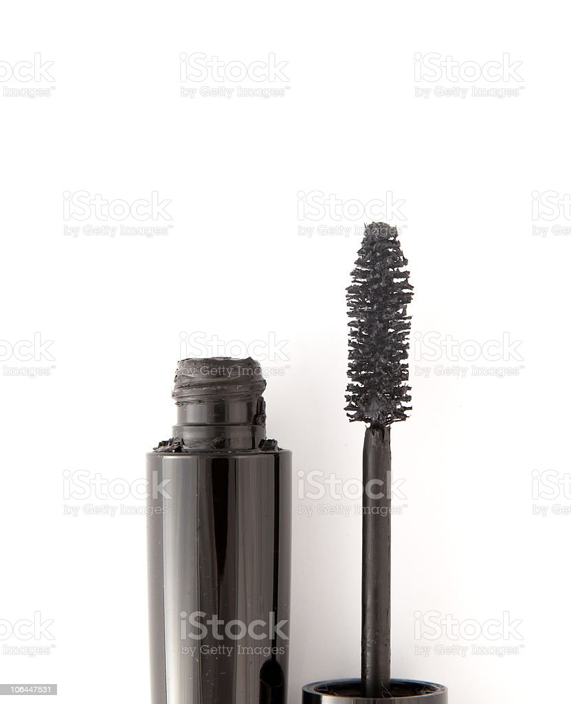 Black mascara on white background stock photo
