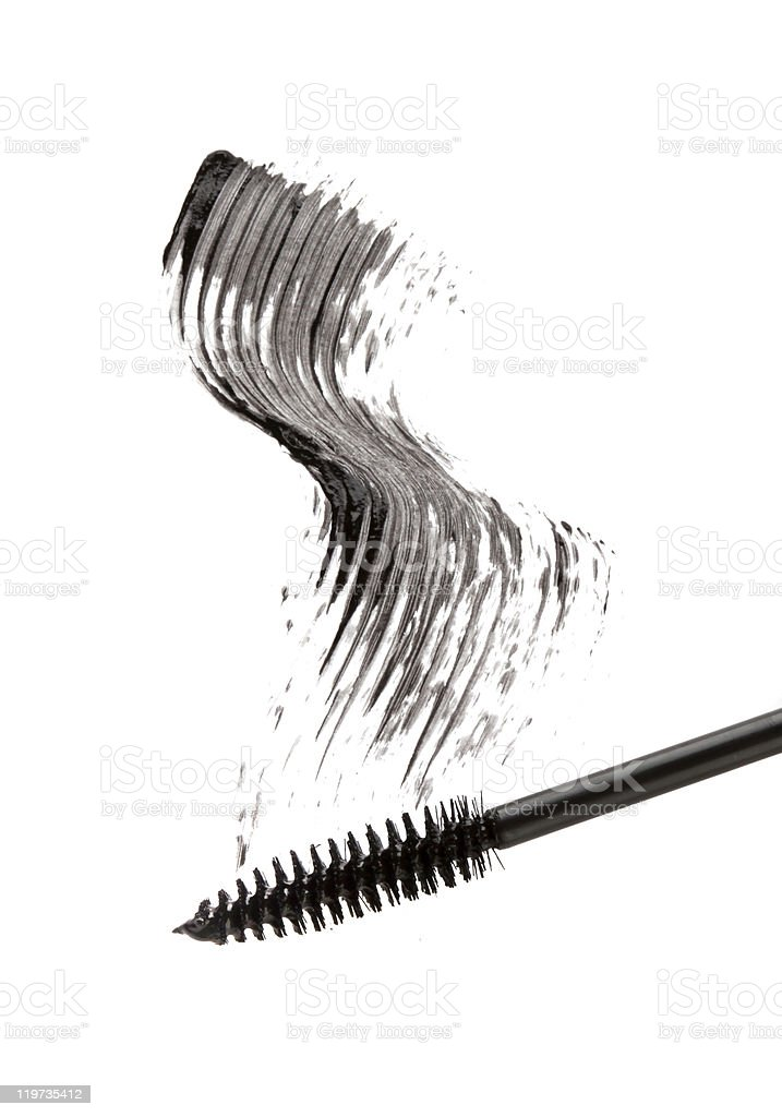 Black mascara stroke isolated on white stock photo