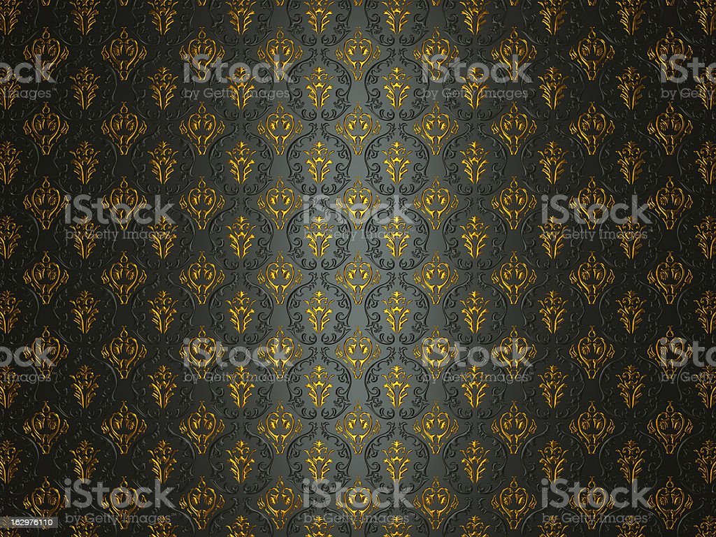 Black material with golden victorian ornament royalty-free stock photo