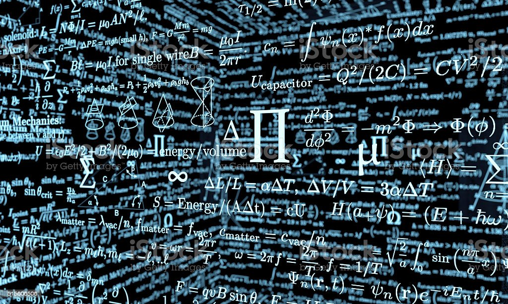 black mathematics board with formulas stock photo