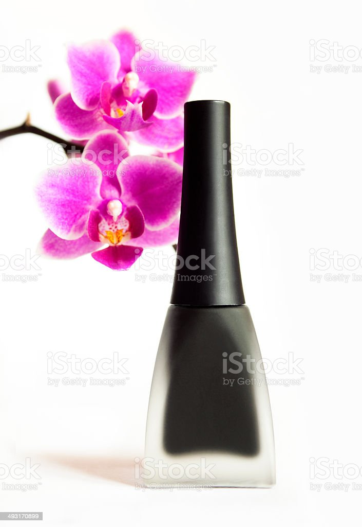 Black matte nail Polish. royalty-free stock photo
