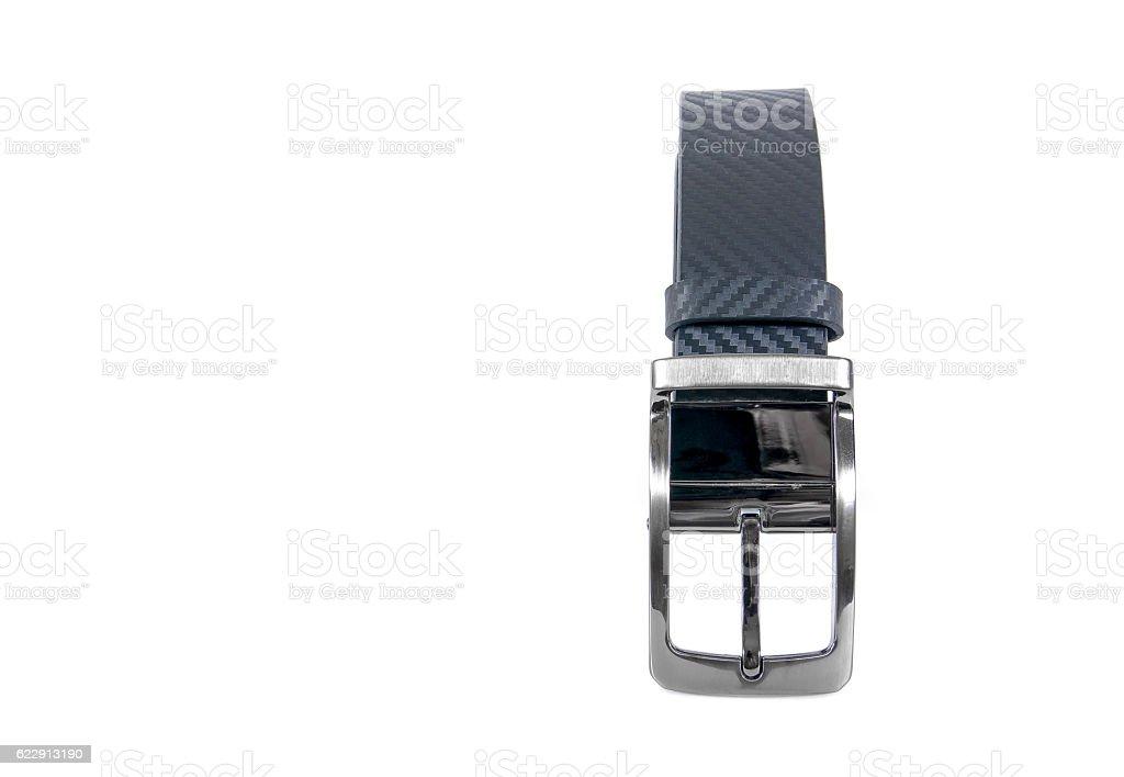 Black men belt isolated on white background stock photo