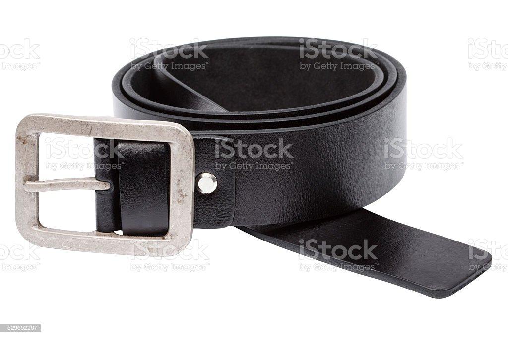 Black men leather belt isolated on white stock photo