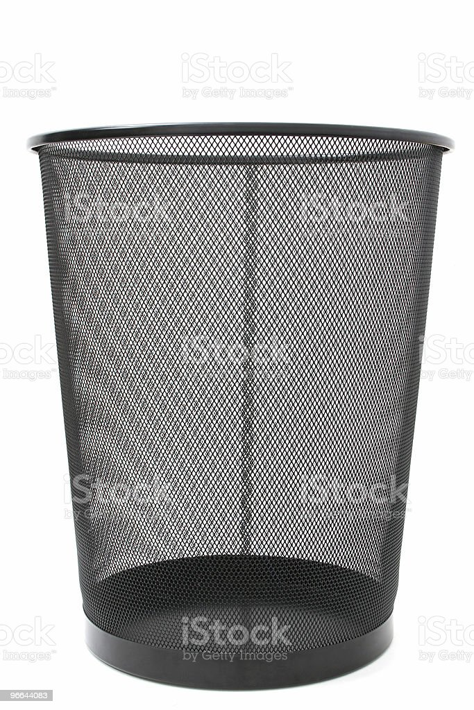 Black Mesh Trash Basket Empty royalty-free stock photo