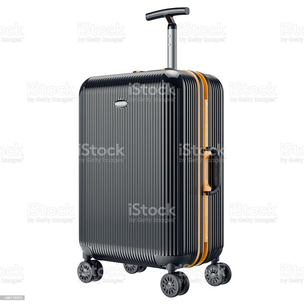 Black metal luggage for travel stock photo
