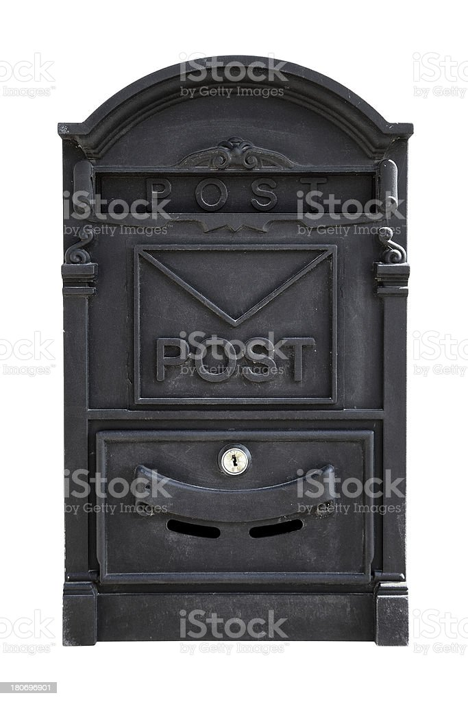 Black Metal Mailbox (Clipping Path) stock photo