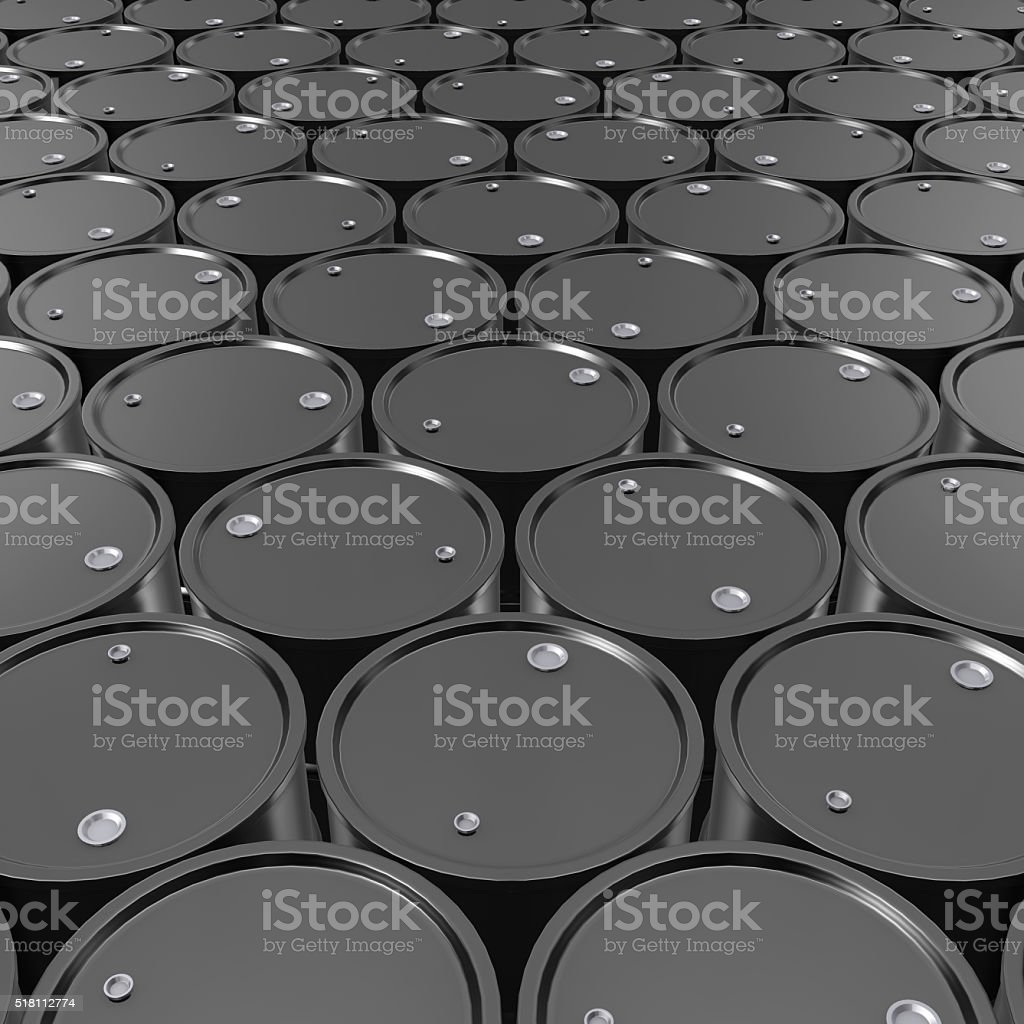 Black Metal Oil Barrels Background. stock photo