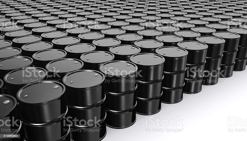 Black Metal Oil Barrels on White Background. stock photo