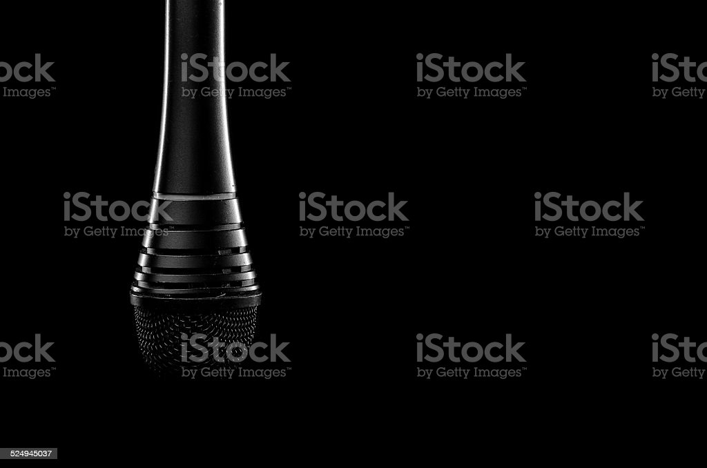 Black microphone stock photo