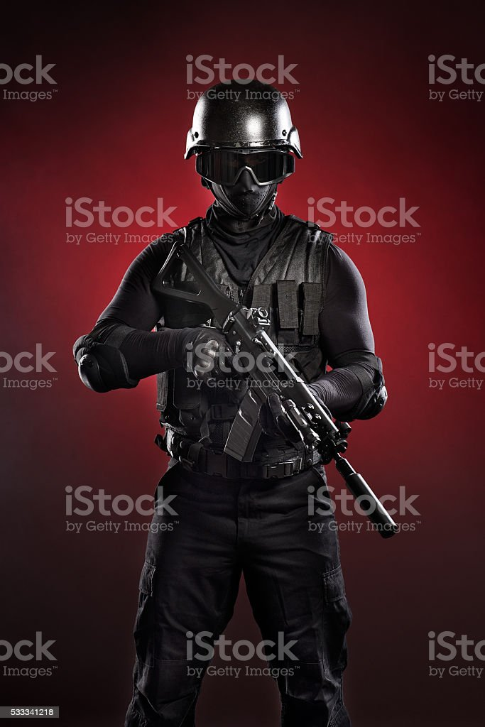 Black military man stock photo