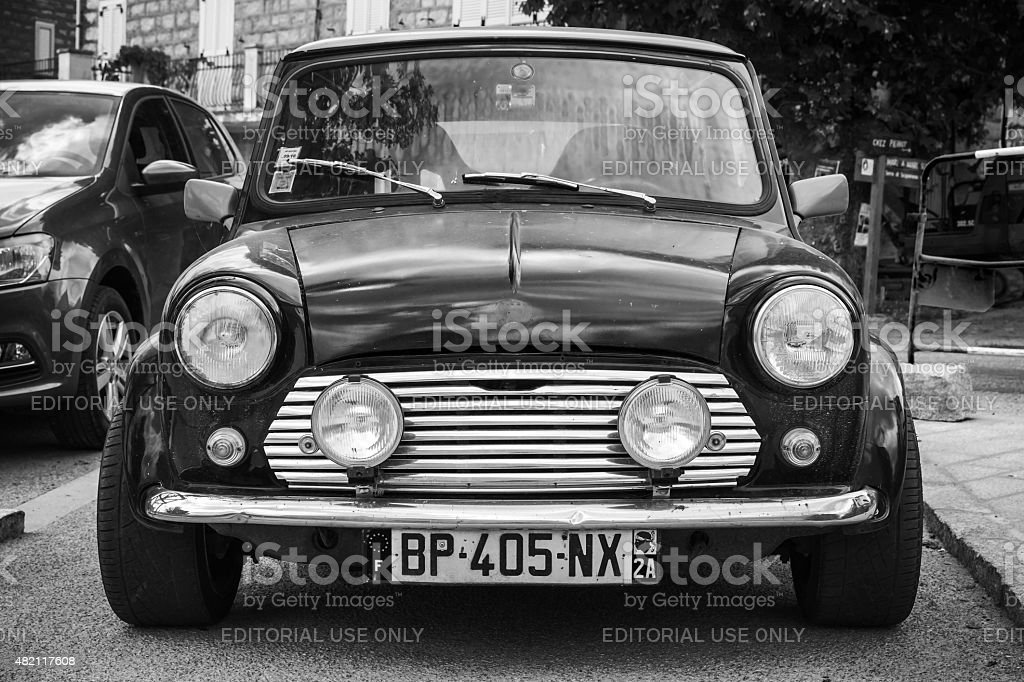 Black Mini cooper car stands parked stock photo