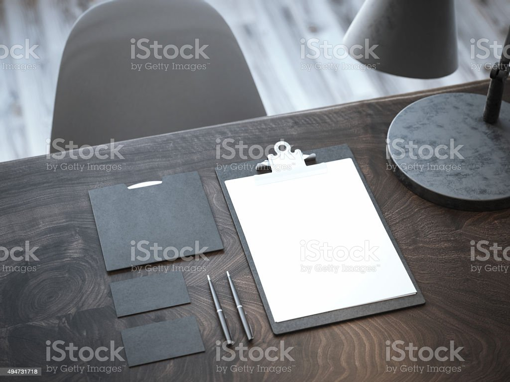 Black mockup on the wooden table. 3d rendering stock photo