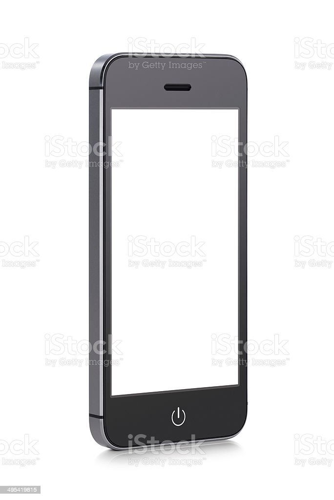 Black modern mobile smart phone with blank screen stock photo