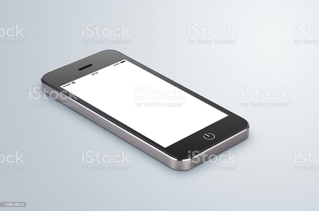 Black modern smartphone mock up with blank screen stock photo