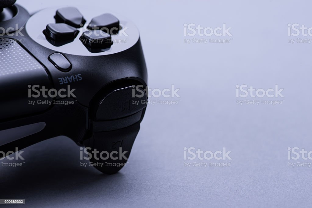 Black modern video game controller stock photo