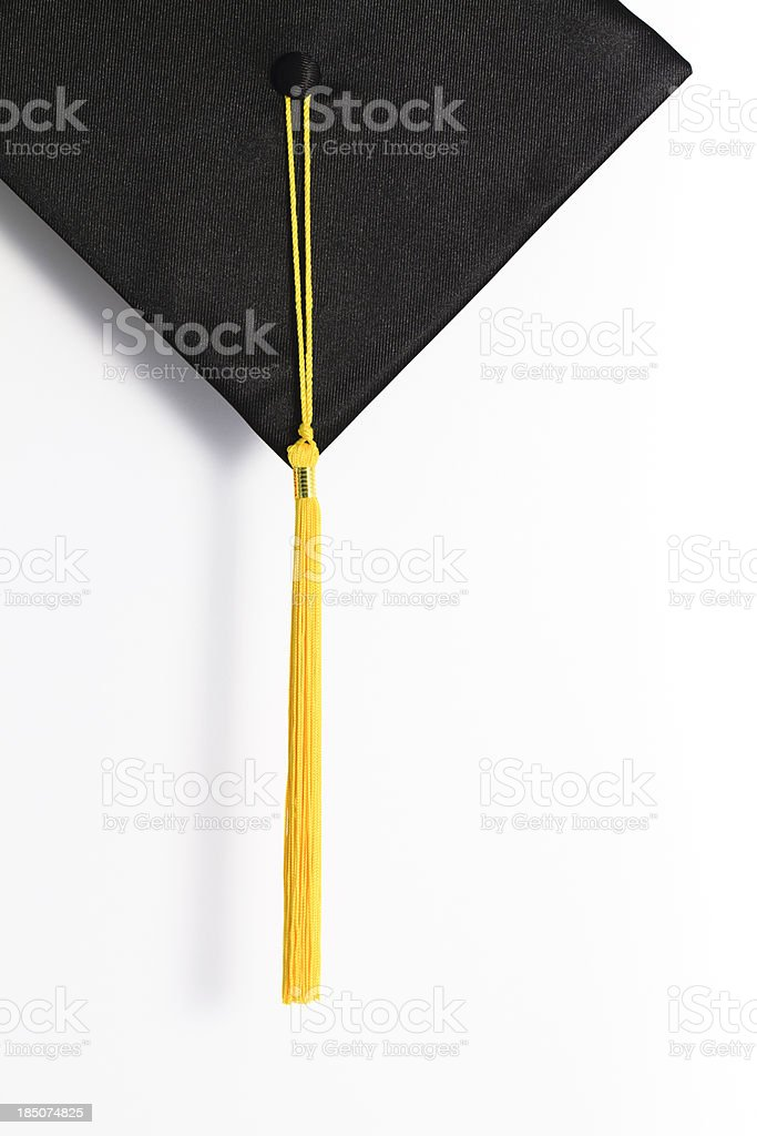 Black Mortar Board with Gold Tassel stock photo