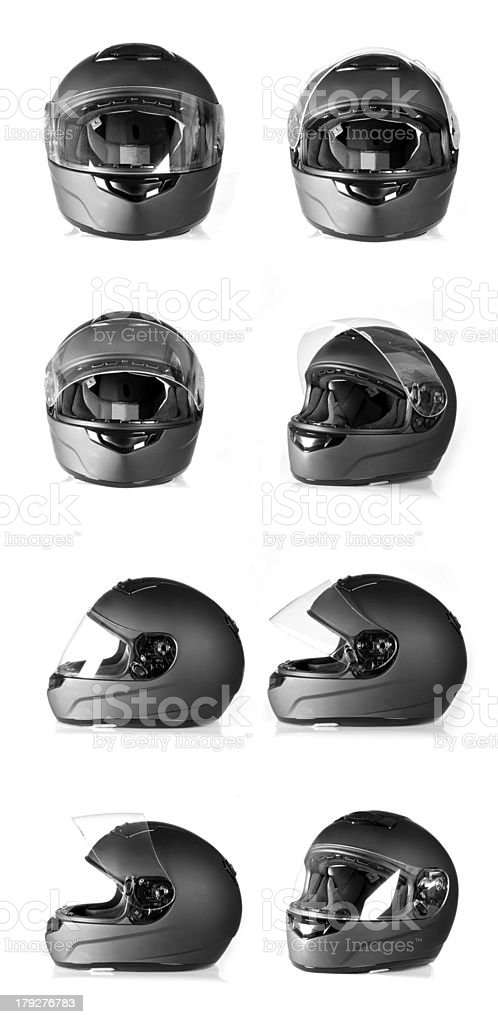 Black motorcycle helmet stock photo