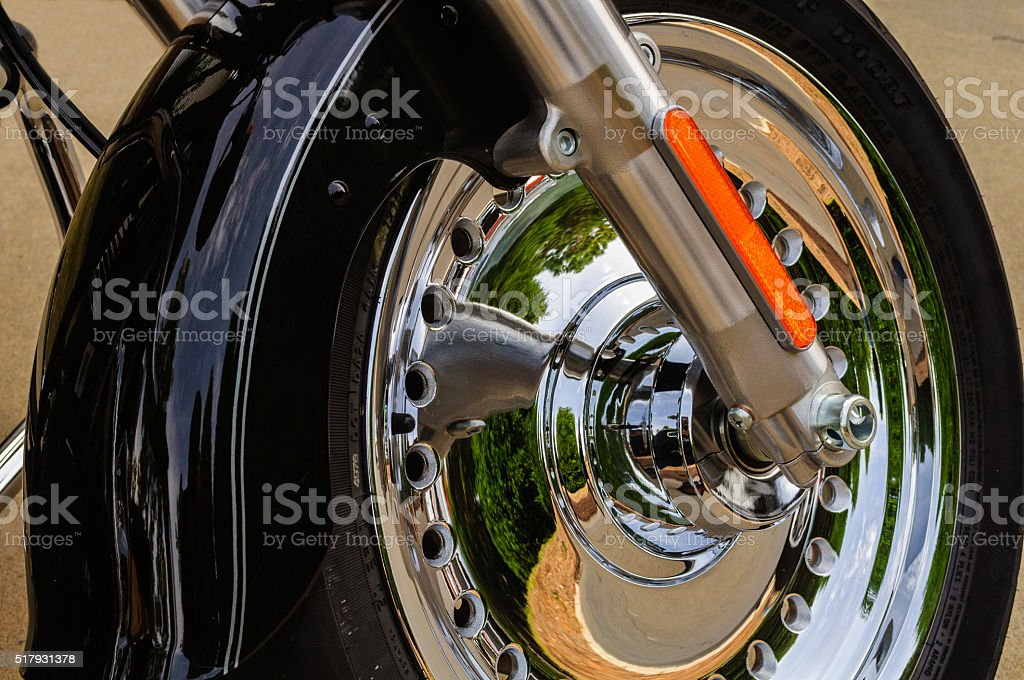 Black Motorcycle With Chrome Wheel stock photo