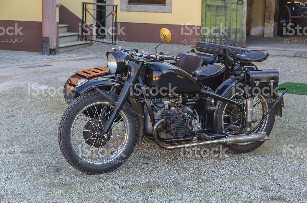 Black motorcycle with sidecar stock photo