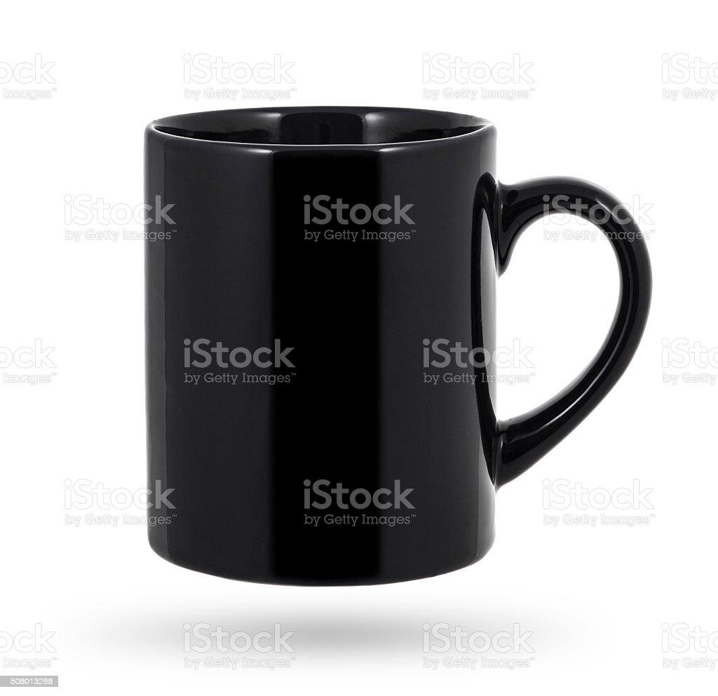 Black mug isolated on a white background stock photo