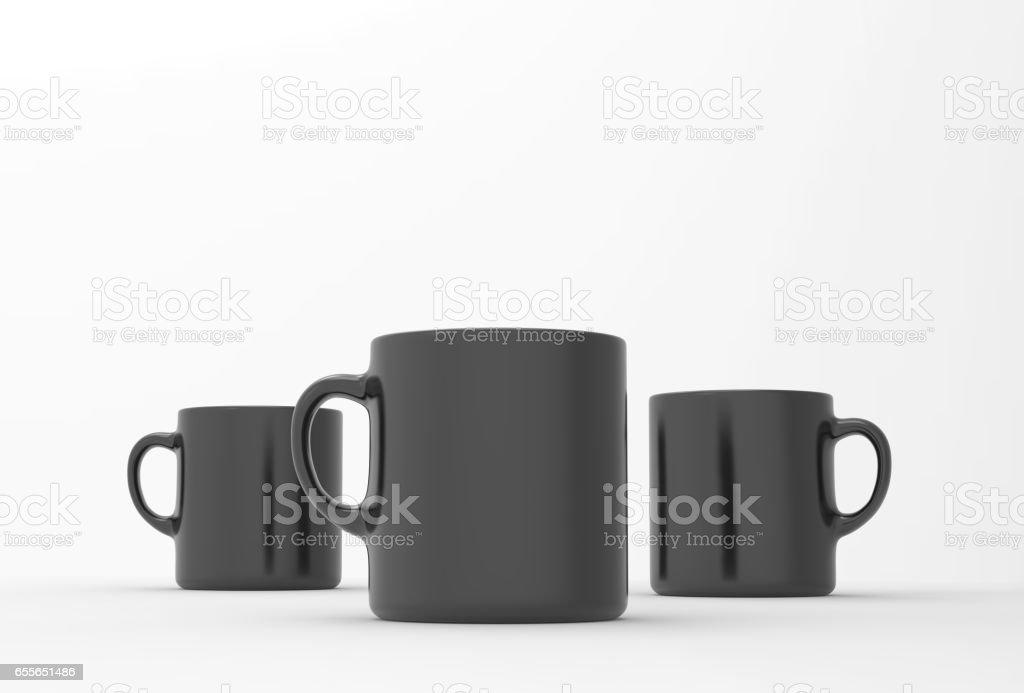 Black mug mock up on soft white background. 3D illustrated stock photo