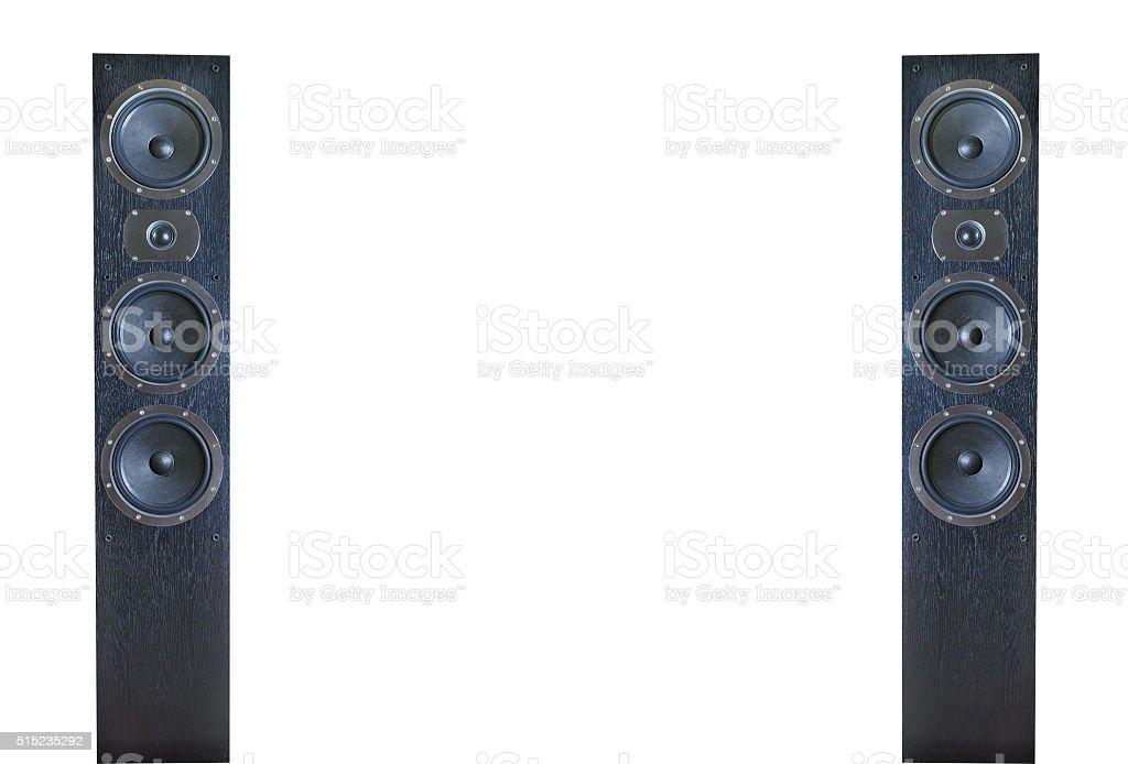 Black music speakers isolated stock photo