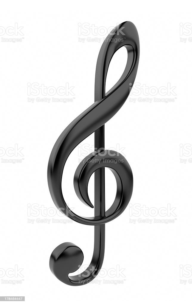 Black musical note 3D. Icon isolated royalty-free stock photo