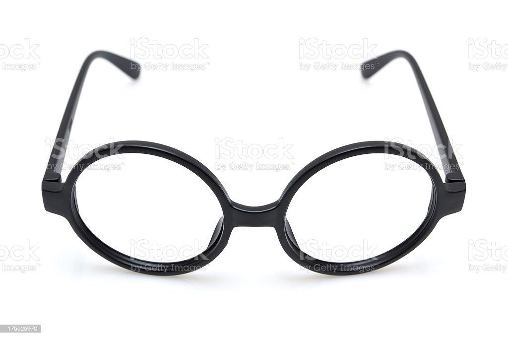Black nerd spectacle frame isolated on white background royalty-free stock photo