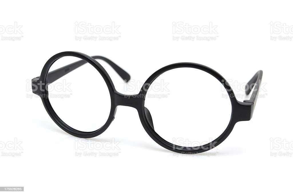Black nerd spectacle frame isolated on white background stock photo