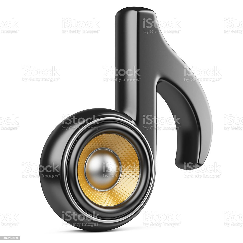 Black note and speaker. Audio concept royalty-free stock photo