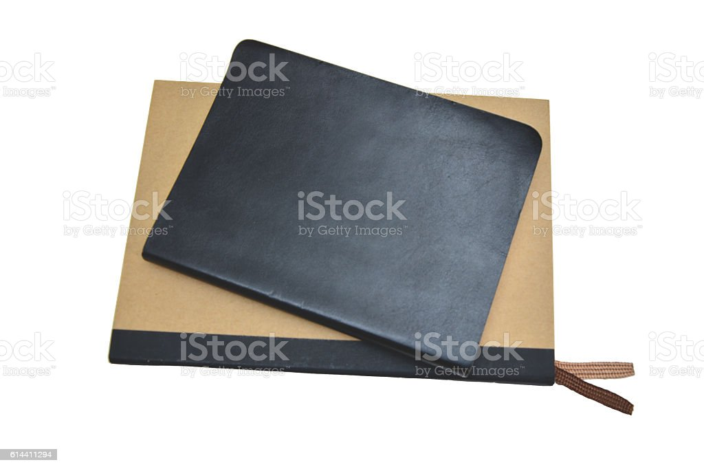 black notebook and brown notebook with white background royalty-free stock photo