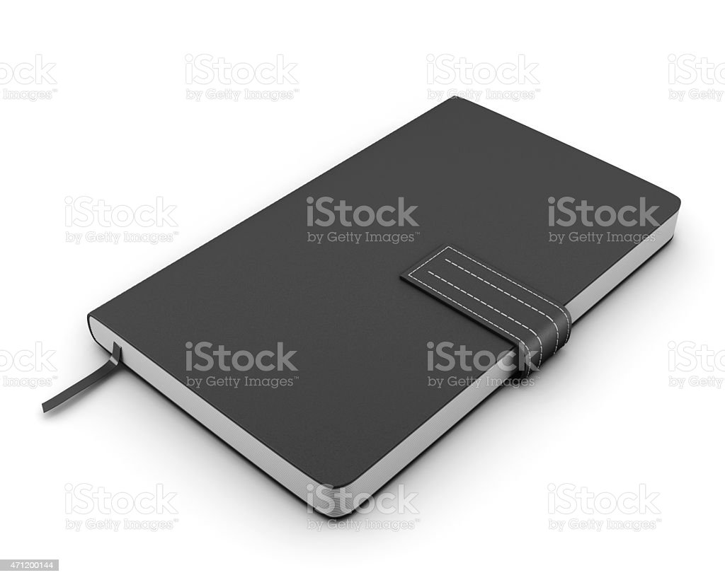 Black notebook for notes on a white background stock photo