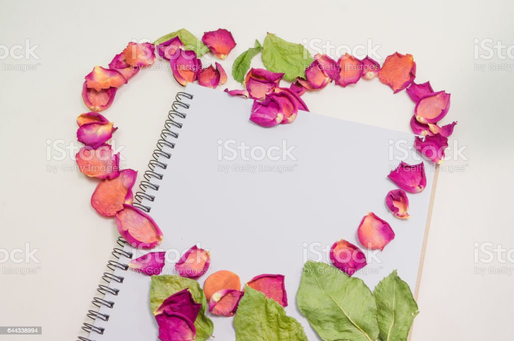 Black notepad. Love concept Realistic template notebook. stock photo