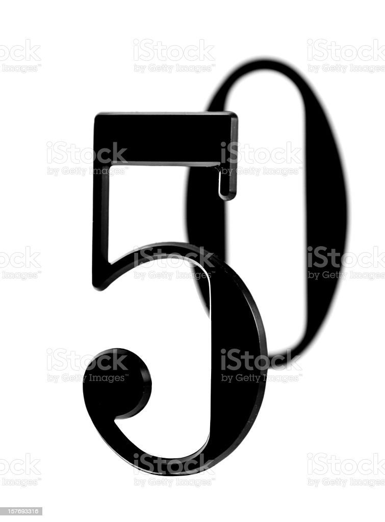 Black numerical five and zero on a white background. stock photo