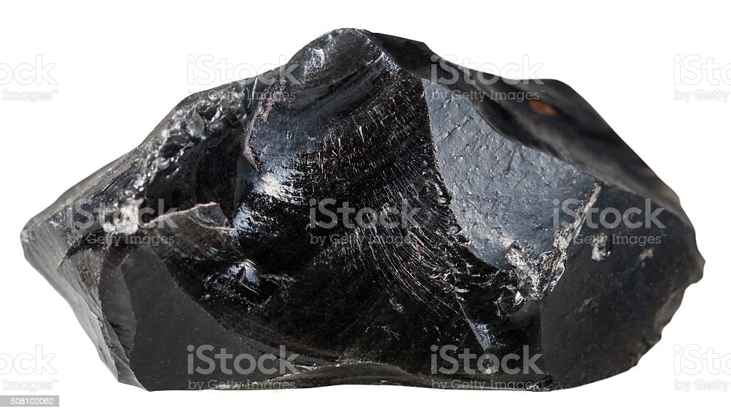 black Obsidian (volcanic glass) mineral stone stock photo