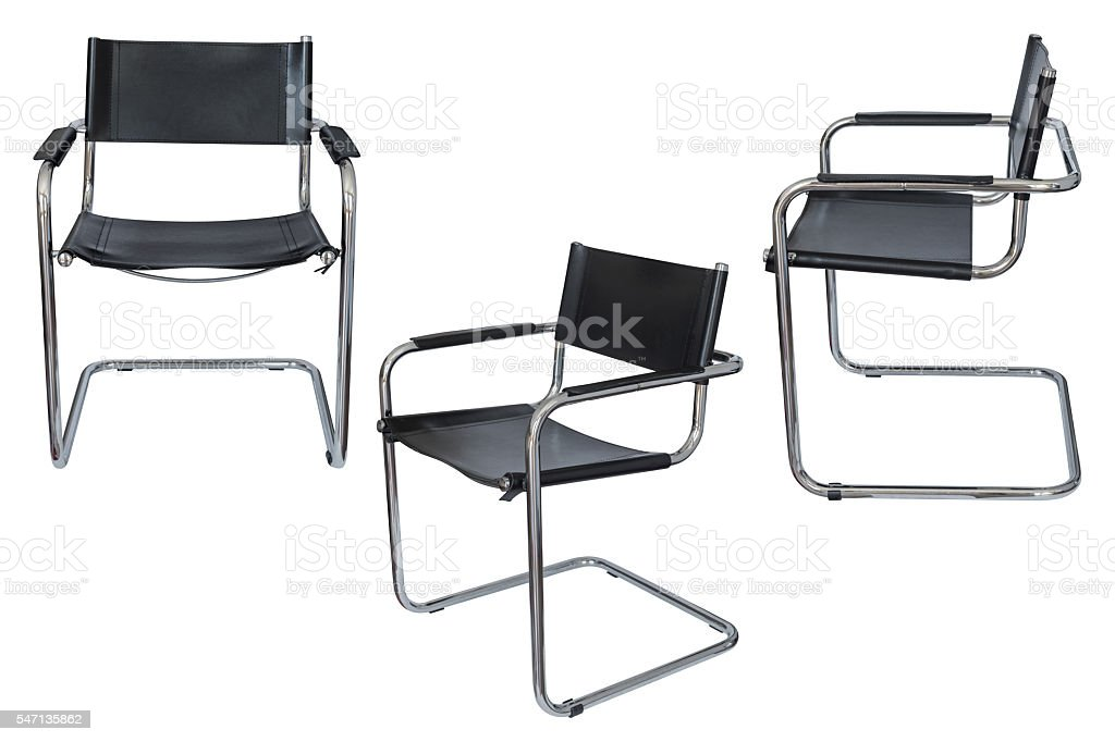 black office chair isolated on white background stock photo