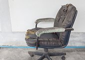 black Office chair old damage leather and dirty